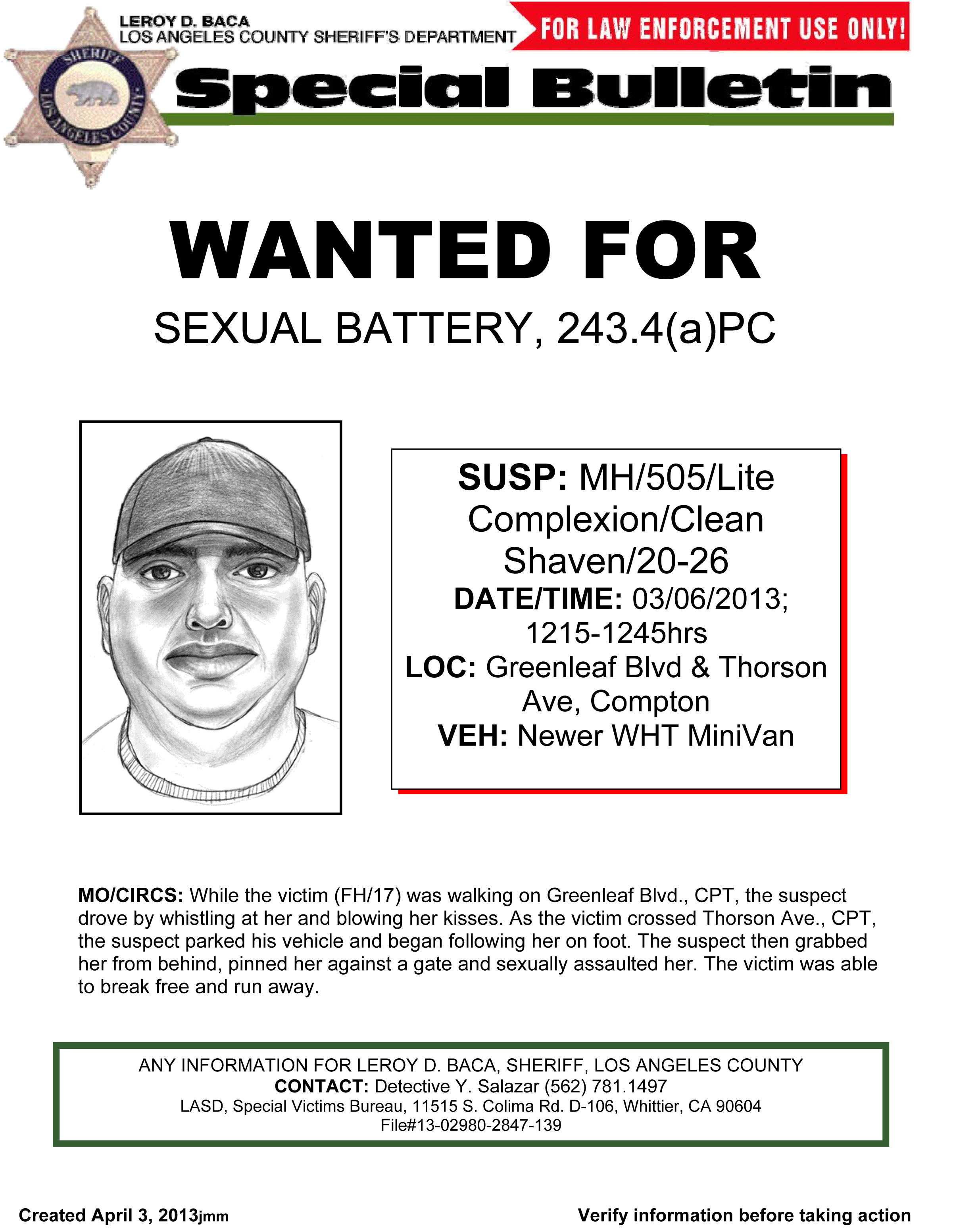 Wanted for Sexual Battery