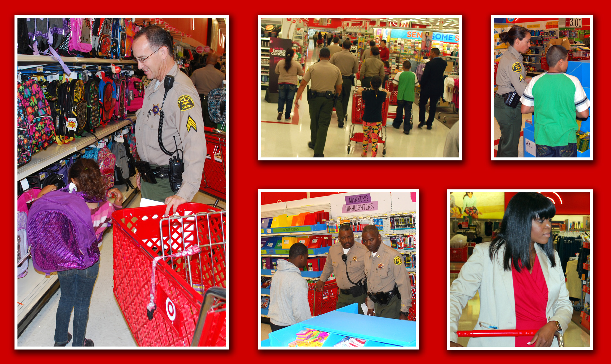 Compton Sheriff's Deputies and City Official escorting kids on shopping spree