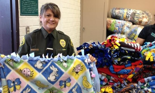 Blankets made by inmates for donation