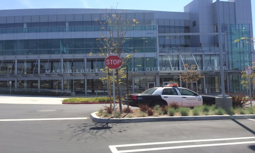 Pictue of patrol car in front of Outpatient Center