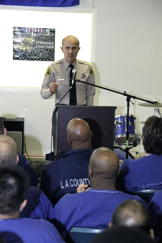 Sheriff Baca giving a presentation to a student inmate class at South Facility