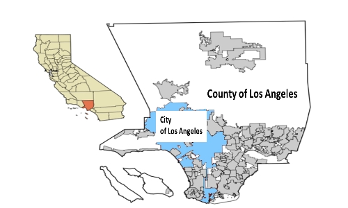 The City of Los Angeles, in blue, is within the County of Los Angeles