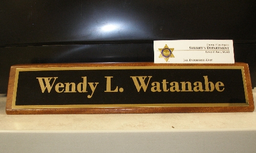 Personalized Wood Nameplate & Business Card Holder