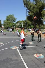 Deputies and Kids Playing Basketball