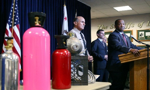 Sheriff Baca at a press conference on the abuse of nitrous oxide at teen parties